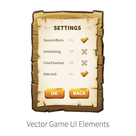 graphical user interface: Game settings screen. Options and preferences. Vector graphical user interface UI GUI for 2d video games. Wooden menu, panels and buttons for menu.