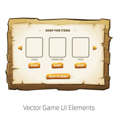 graphical: In-app purchase screen. Vector graphical user interface UI GUI for 2d video games. Wooden menu, panels and buttons for menu.