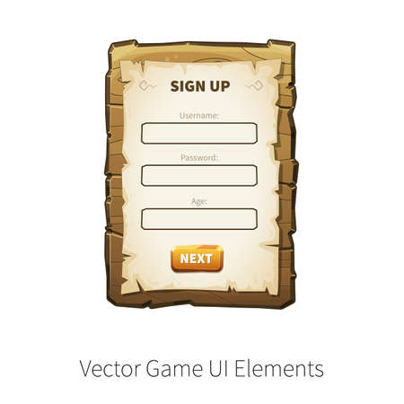 graphical user interface: Sign up dialog. Sign in. Register. Vector graphical user interface UI GUI for 2d video games. Wooden menu, panels and buttons for menu. Illustration
