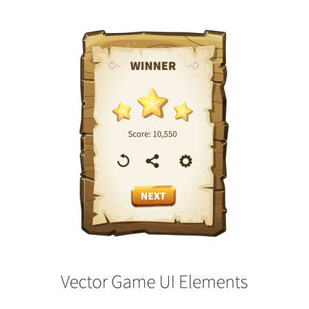 graphical: Win. Level completed. Vector graphical user interface UI GUI for 2d video games. Wooden menu, panels and buttons for menu.