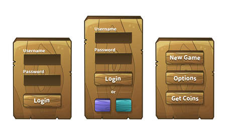 graphical user interface: Vector set of graphical user interface UI GUI for 2d video games. Wooden menu, panels and buttons for menu. Social networks login option Illustration