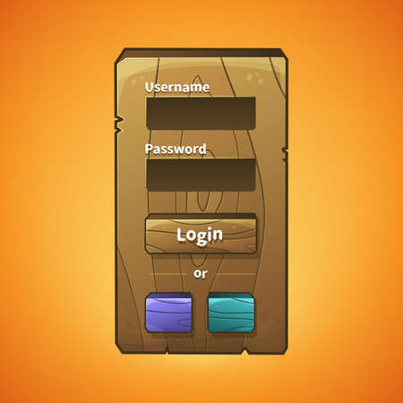 graphical user interface: Vector graphical user interface UI GUI for 2d video games. Wooden menu, panels and buttons for menu. Social networks login option Illustration