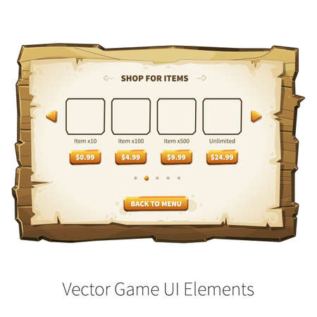 board games: In-app purchase screen. Vector graphical user interface UI GUI for 2d video games. Wooden menu, panels and buttons for menu.