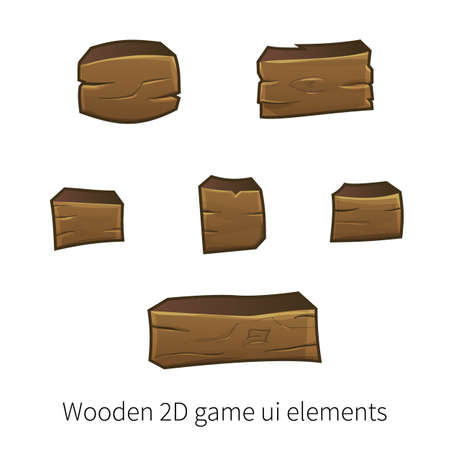 graphical user interface: Vector set of graphical user interface UI GUI for 2d video games. Wooden buttons for menu.