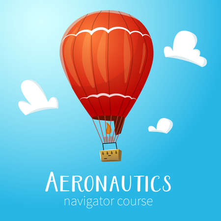 aeronautics: Aeronautics hot air balloon flying in blue sky. Surrounded with some white clouds. Vector illustraion for print and web design. Illustration