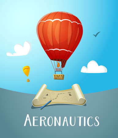 aeronautics: Aeronautics hot air balloon flying in blue sky. Surrounded with some white clouds. Map with market route plan and pencil. Vector illustraion for print and web design.