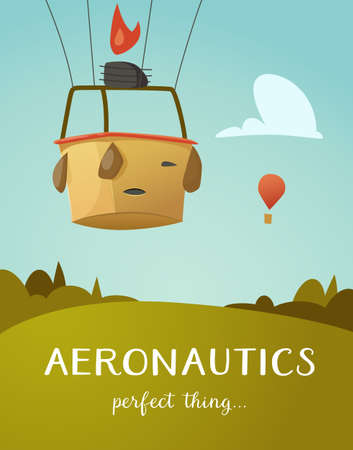 aeronautics: Aeronautics hot air balloon basket ready to fly up into the sky. Surrounded with some white clouds. Vector illustraion for print and web design. Illustration