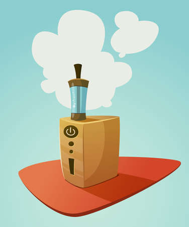 vapor: Vaping device mod with a cloud of vapor. Vector cartoon illustration for print and web. Stop smoking, start vaping. Illustration