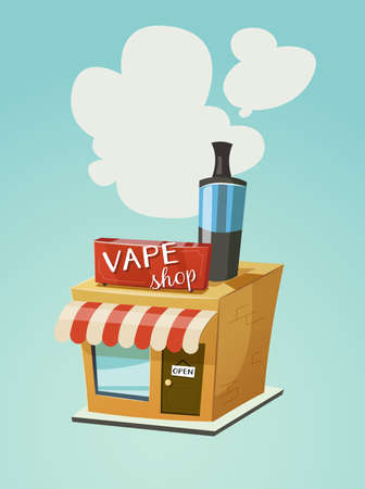 vapor: Vape shop store front with a cloud of vapor. Vector cartoon illustration for print and web. Stop smoking, start vaping.