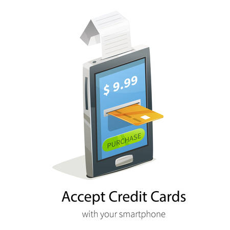 Vector illustration with smartphone, cashiers check and credit card payment. E-commerce ads banner for design.