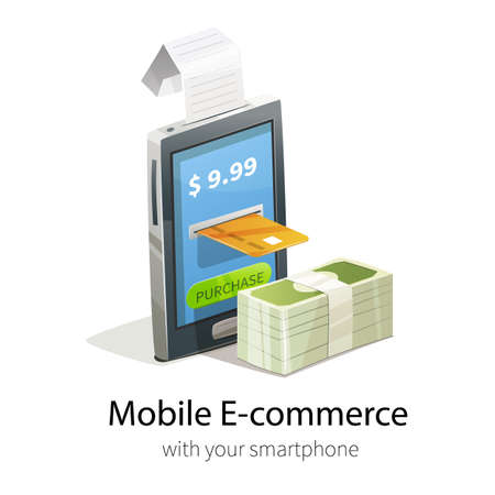 Mobile e-commerce concept. Smartphone, plastic credit card and money. Isolated on white background. Phone gives purchase receipt.