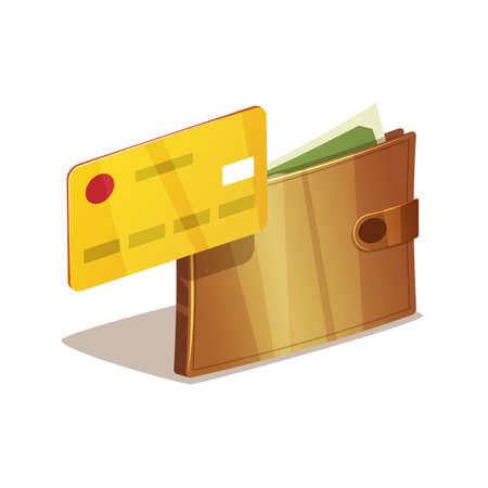 Carpeta por completo de dólares y el dinero verde con la tarjeta de crédito de plástico. Aislado en el fondo blanco.
