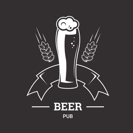 ale: Beer insignia icon with glassware isolated on dark background. Vintage ale and lager emblem for brewery. Illustration