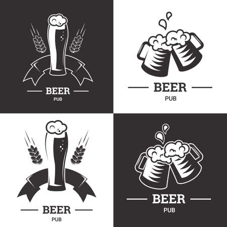 ale: Set of beer insignia icon with glassware isolated on white background. Vintage ale and lager emblem for brewery.