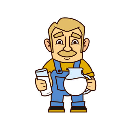 Local market farmer holding a glass of milk and a jar in his hands. Vector illustration of a character. Flat style. Isolated on white background.