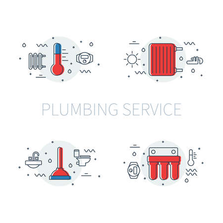 Plumbing service set of illustrations and logos with thermometer, heater radiator, plunger and water filter
