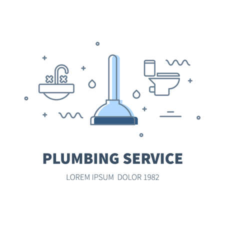 Plumbing service concept design illustration and logo of plunger Illustration
