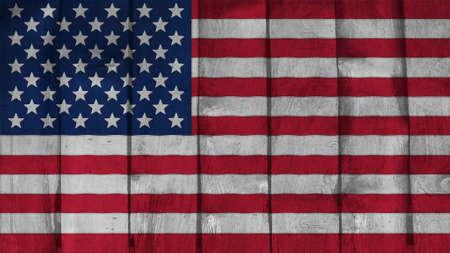 big size: United States Flag on the wood texture big size