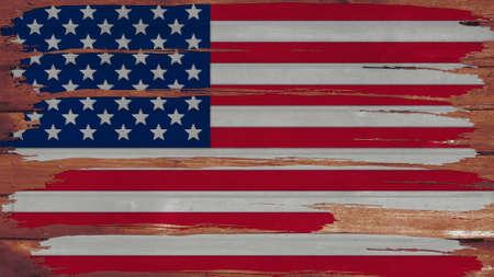big size: United States Flag paint on wood horizontal  texture big size