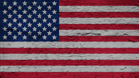 big size: United States Flag on the wall texture big size  Stock Photo