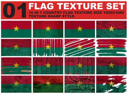 Burkina Faso Flag texture set resolution 1920x1080 pixel 16 in 1 photo