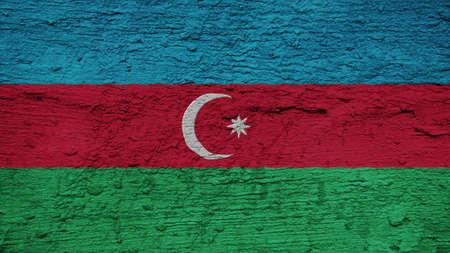 azerbaijan: Azerbaijan Flag on the wall texture Stock Photo