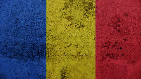 chad: Chad Flag on the old wall texture Stock Photo
