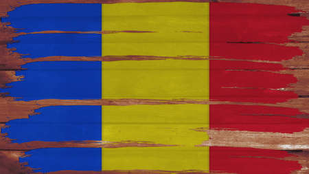 spangled: Chad Flag tinted horizontal on the wood texture