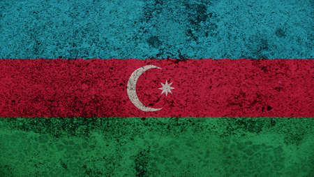 spangled: Azerbaijan Flag on the old wall texture
