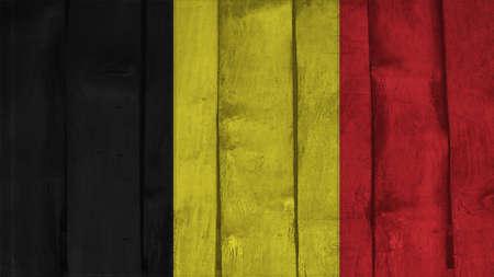 spangled: Belgium Flag on the wood texture