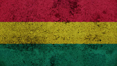 spangled: Bolivia Flag on the old wall texture