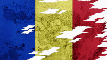 lacerate: Chad Flag lacerate texture Stock Photo