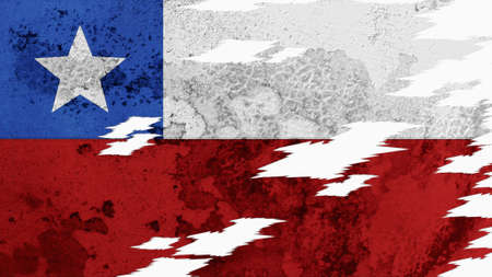lacerate: Chile Flag lacerate texture Stock Photo
