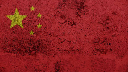 spangled: China Flag on the old wall texture
