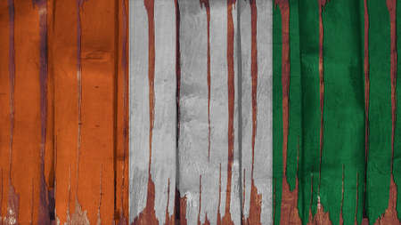 spangled: Cote dIvoire Flag tinted vertical on the wood texture Stock Photo