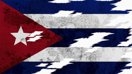 lacerate: Cuba flag lacerate old texture with seam