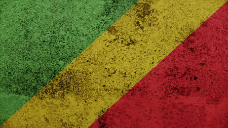 spangled: Republic of the Congo Flag on the old wall texture