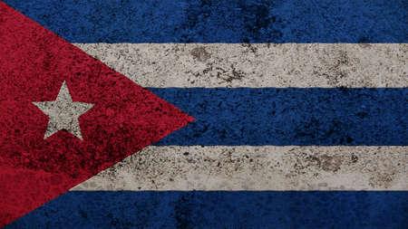 bandera cuba: Bandera de Cuba en la vieja textura de la pared Foto de archivo