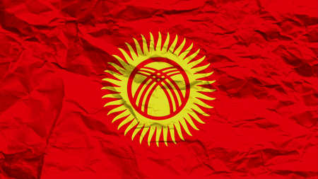 overlays: Kyrgyzstan flag paper texture with seam