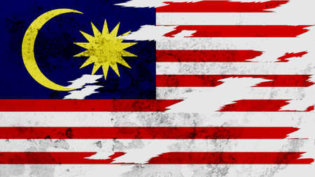 lacerate: Malaysia flag lacerate texture Stock Photo