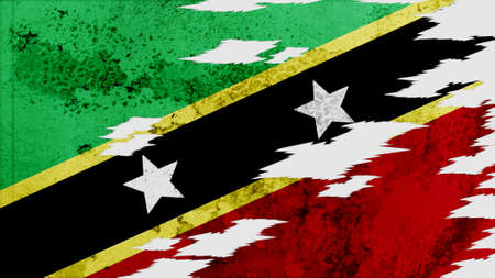 lacerate: st kitts & nevis  Flag lacerate texture Stock Photo