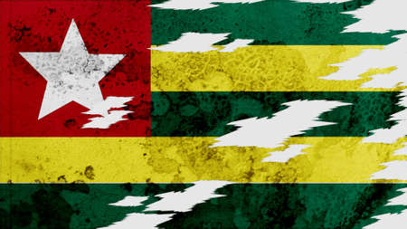 lacerate: togo Flag lacerate texture Stock Photo