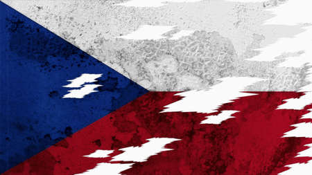 lacerate: czech republic flag lacerate old texture with seam