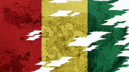 lacerate: guinea flag lacerate old texture with seam Stock Photo