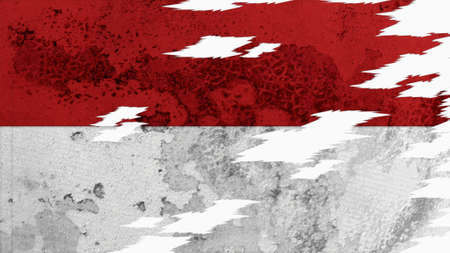 lacerate: indonesia flag lacerate old texture with seam Stock Photo