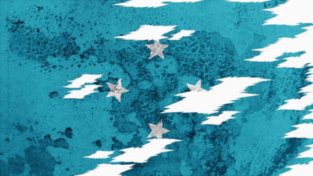 lacerate: micronesia flag lacerate old texture with seam Stock Photo