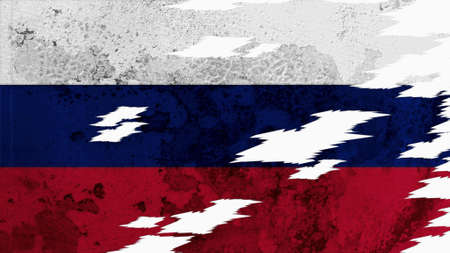 lacerate: russia flag lacerate old texture with seam