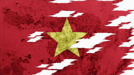 lacerate: vietnam flag lacerate old texture with seam