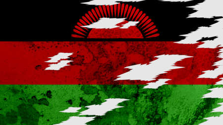 lacerate: Malawi flag lacerate texture Stock Photo