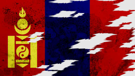lacerate: mongolia flag lacerate texture Stock Photo